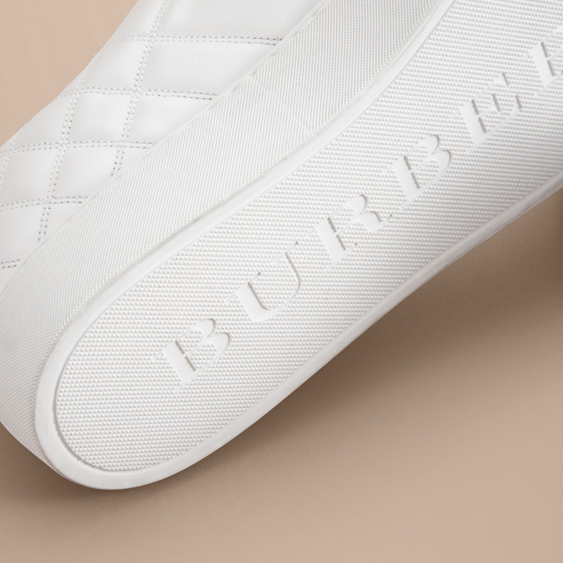 Check-quilted Leather Trainers in Optic White - Women | Burberry - gallery image 5