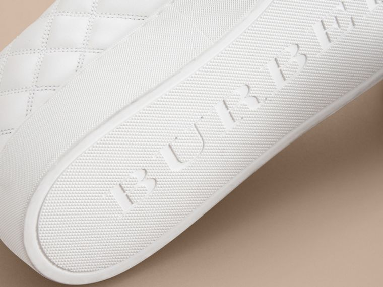 Check-quilted Leather Trainers in Optic White - Women | Burberry - cell image 4