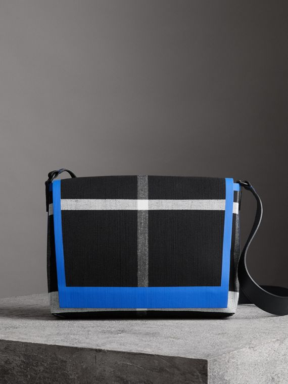 Medium Leather Trim Check Messenger Bag in Blueberry/black
