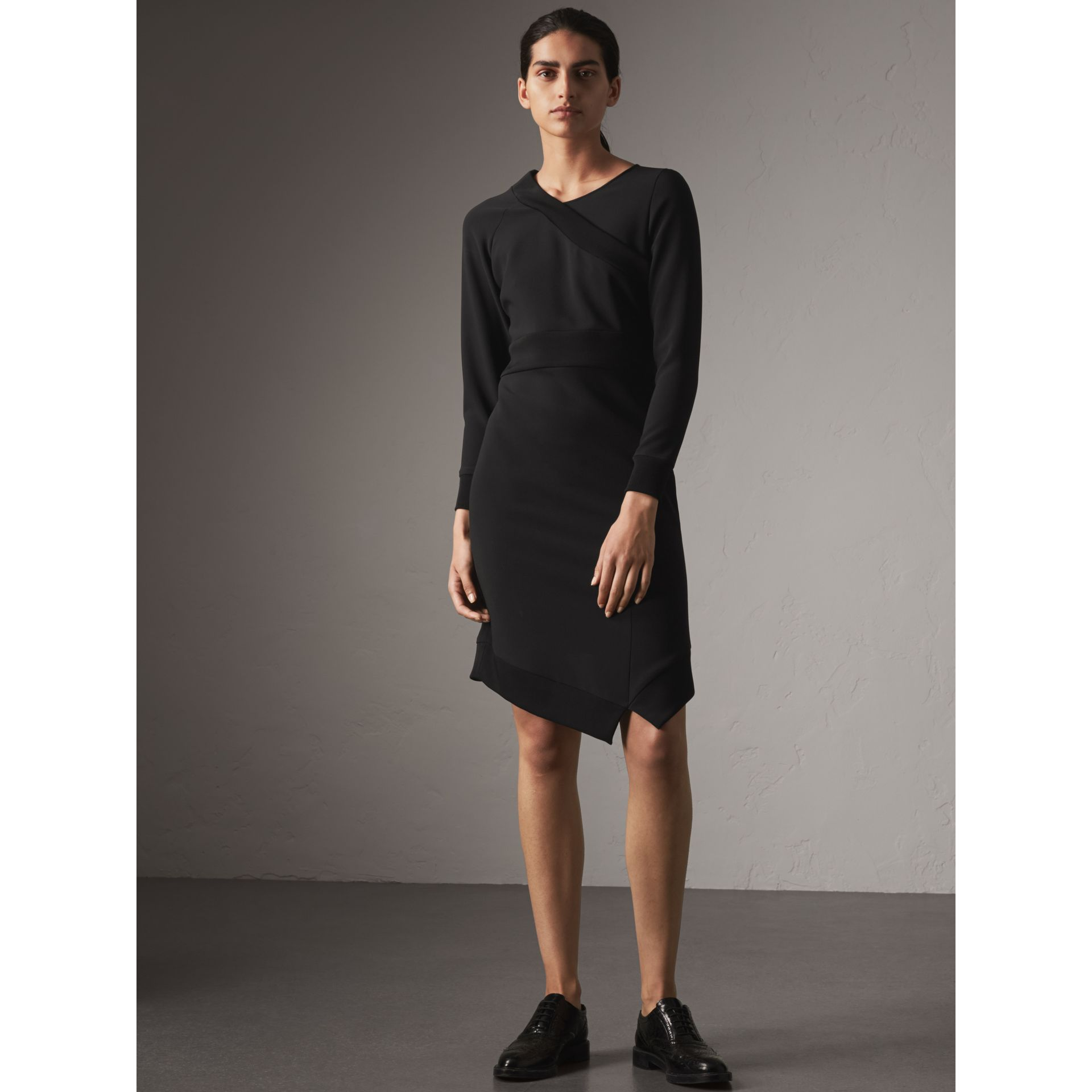 Ribbed Trim Crepe Asymmetric Dress in Black - Women | Burberry - gallery image 4