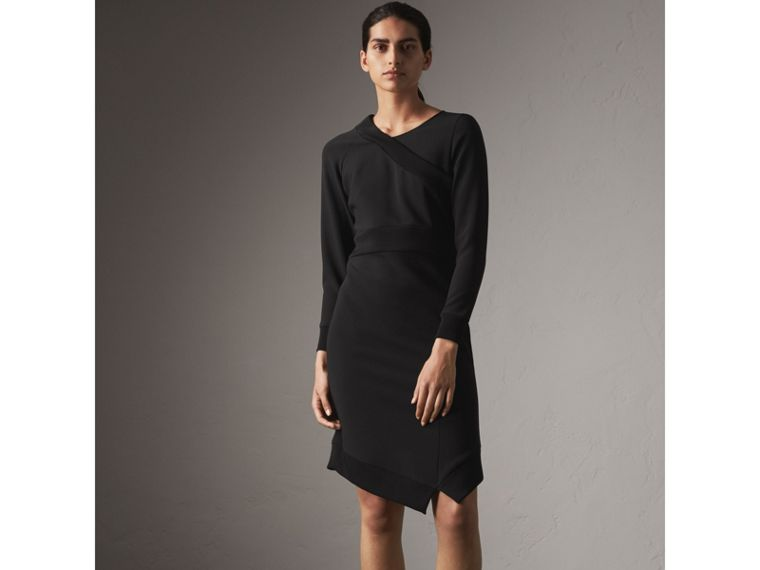 Ribbed Trim Crepe Asymmetric Dress in Black - Women | Burberry - cell image 4