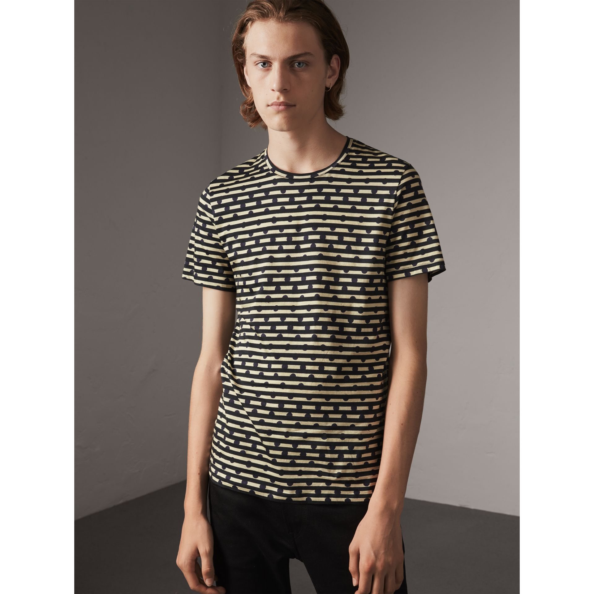 Spot and Stripe Print Cotton T-shirt in Navy - Men | Burberry - gallery image 4