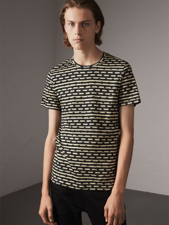 Spot and Stripe Print Cotton T-shirt in Navy