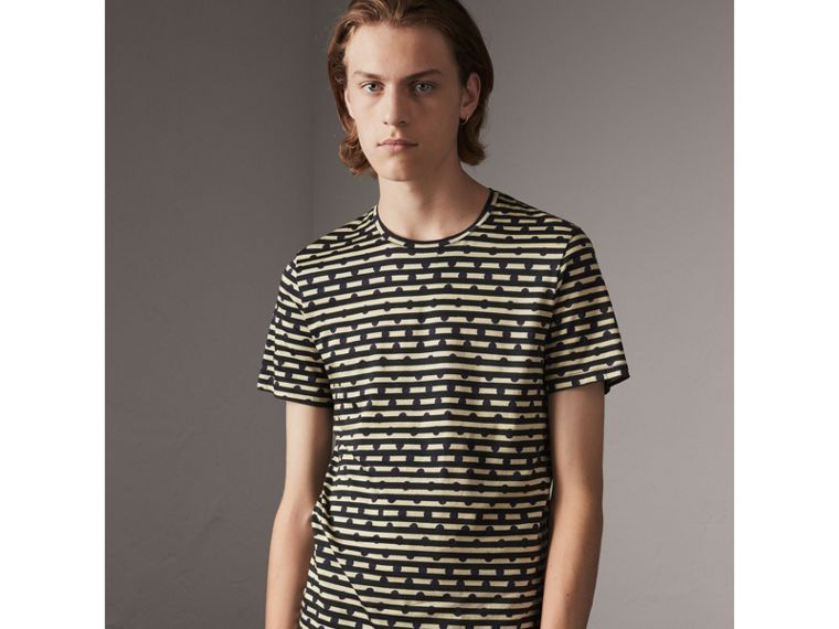 Spot and Stripe Print Cotton T-shirt in Navy - Men | Burberry United Kingdom - cell image 4