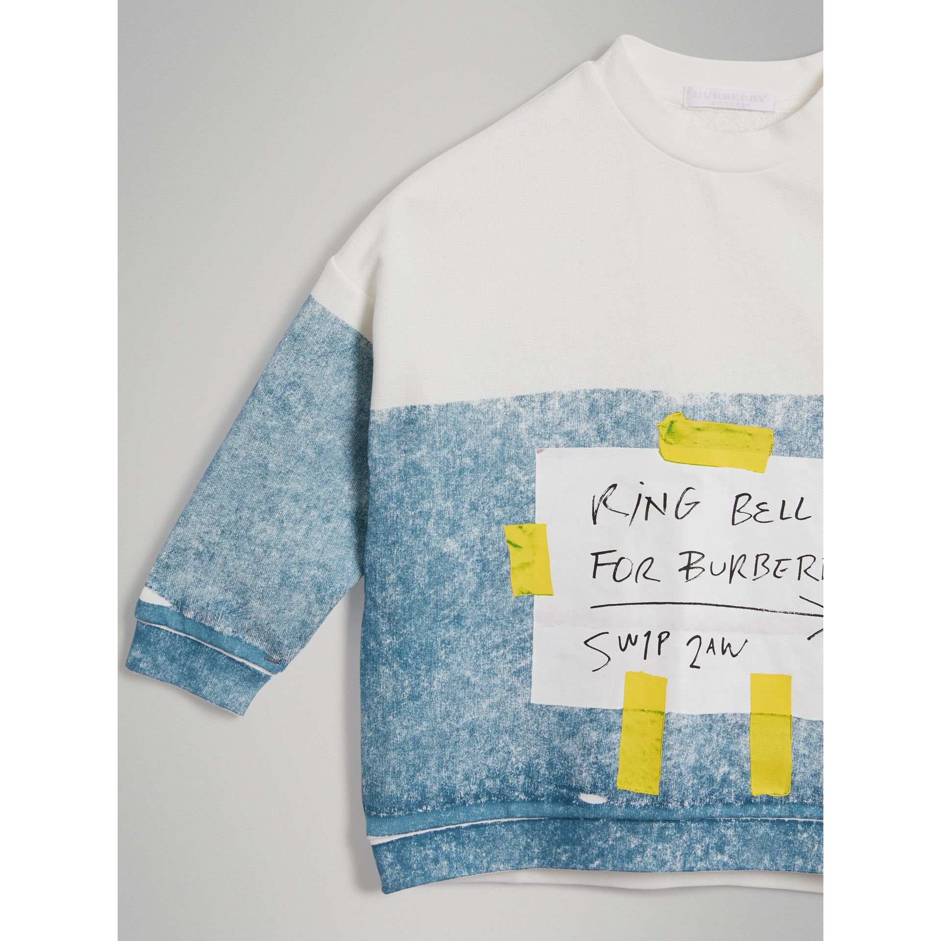 Sign Print Cotton Sweatshirt in Canvas Blue - Boy | Burberry - gallery image 4