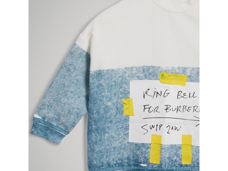 Sign Print Cotton Sweatshirt in Canvas Blue - Boy | Burberry - cell image 4