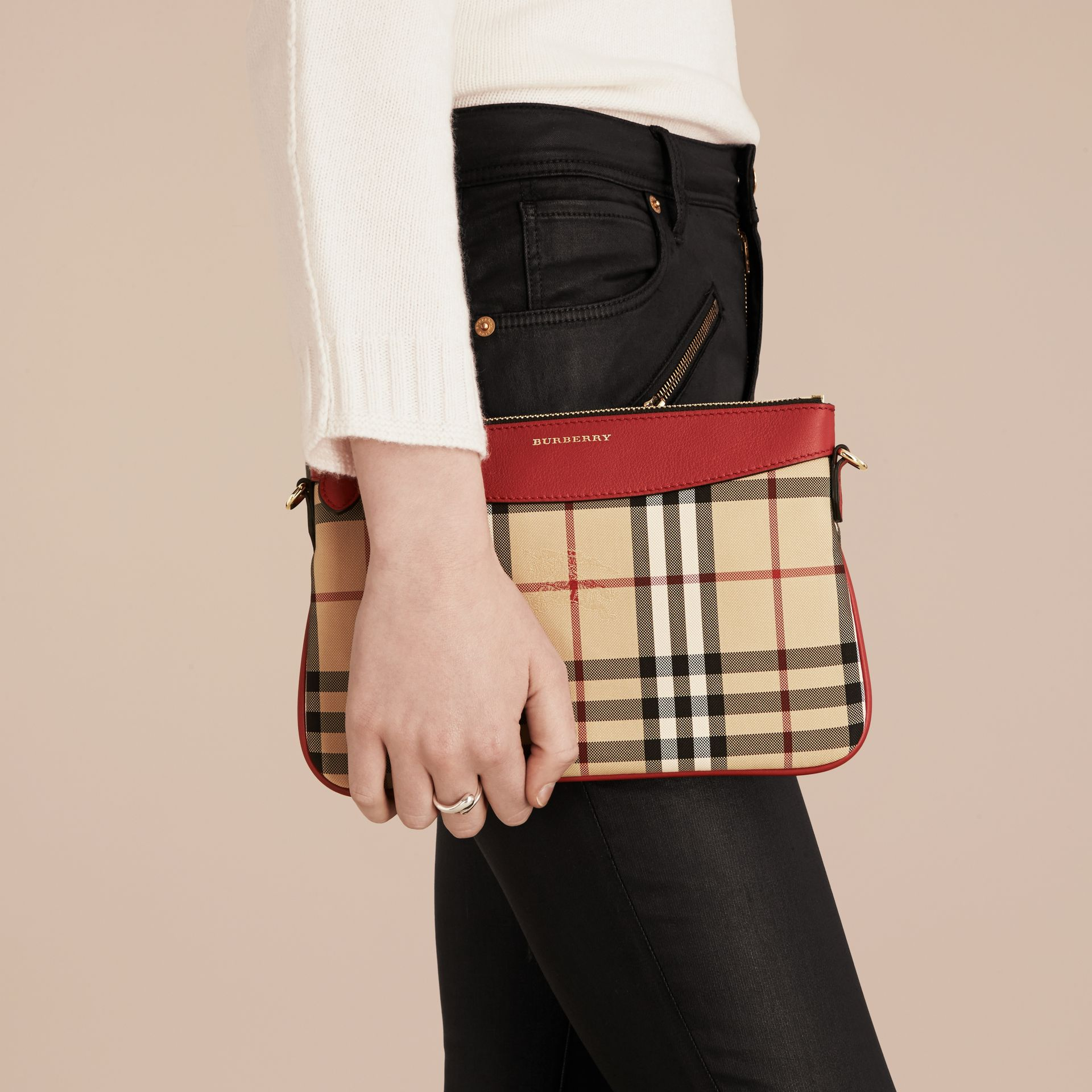 Horseferry Check and Leather Clutch Bag in Parade Red - gallery image 4