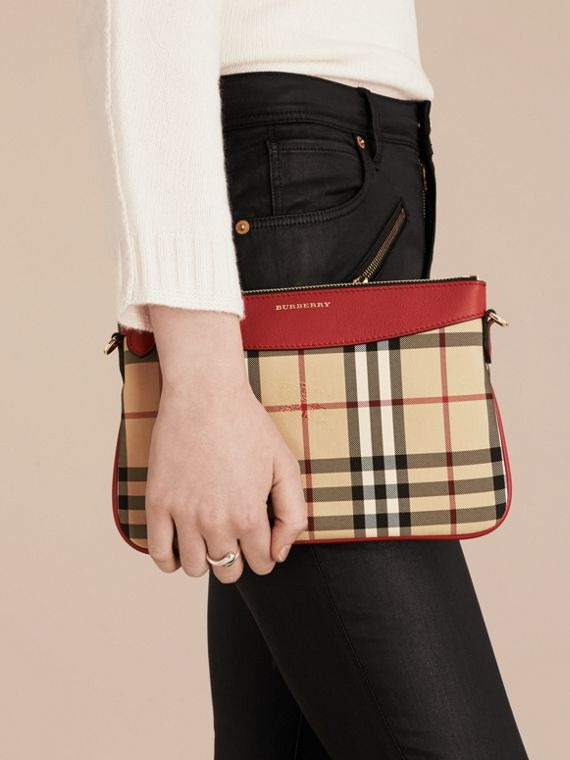 Horseferry Check and Leather Clutch Bag in Parade Red - Women | Burberry - cell image 3