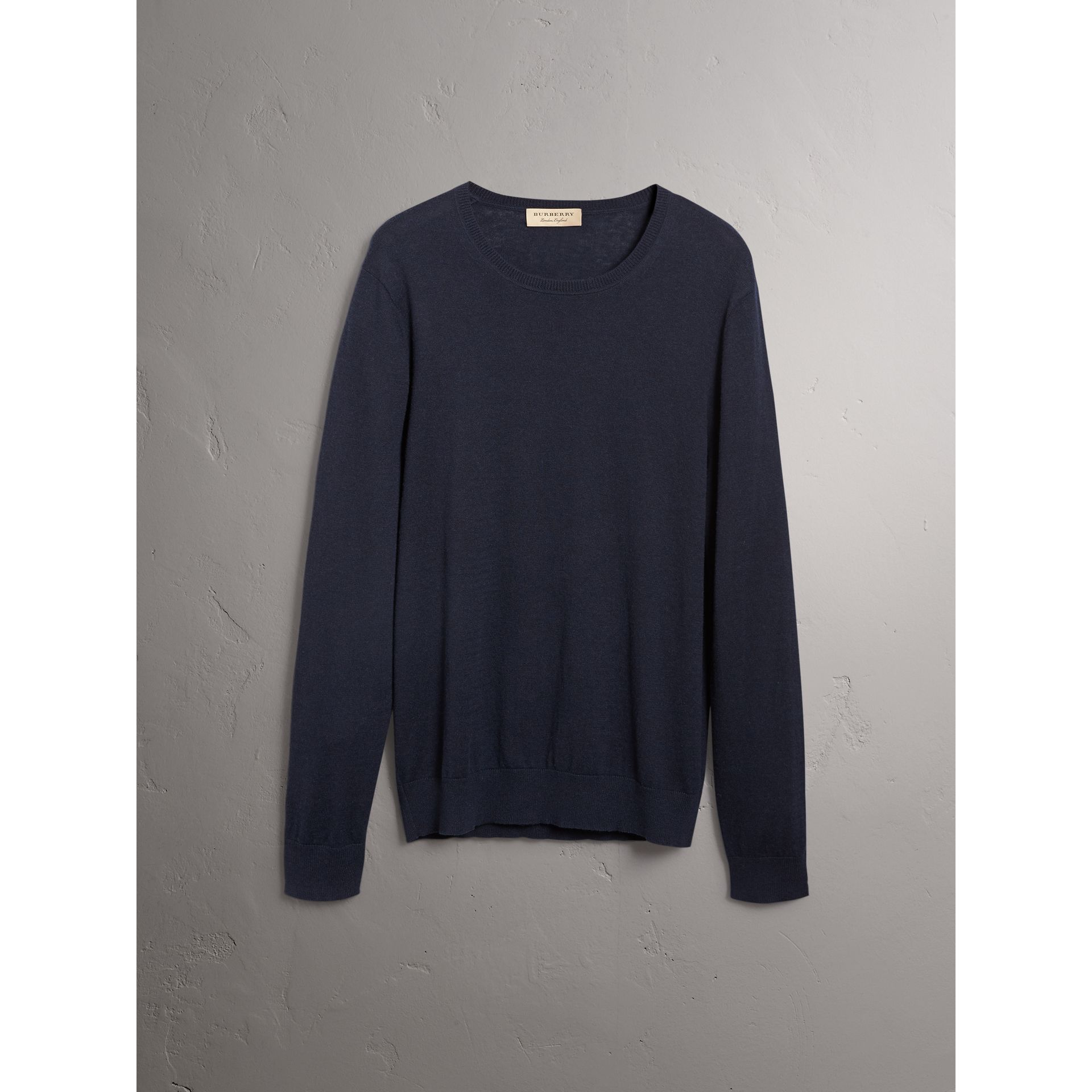 Check Trim Cashmere Cotton Sweater in Navy - Men | Burberry - gallery image 4