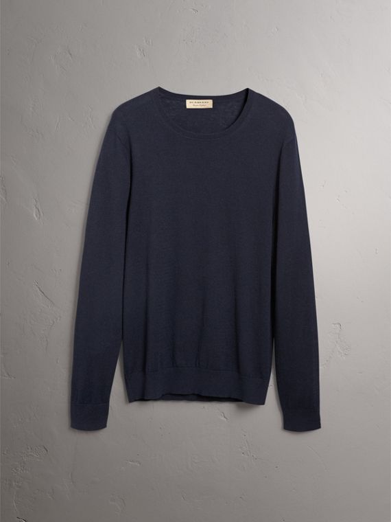 Check Trim Cashmere Cotton Sweater in Navy - Men | Burberry Canada - cell image 3