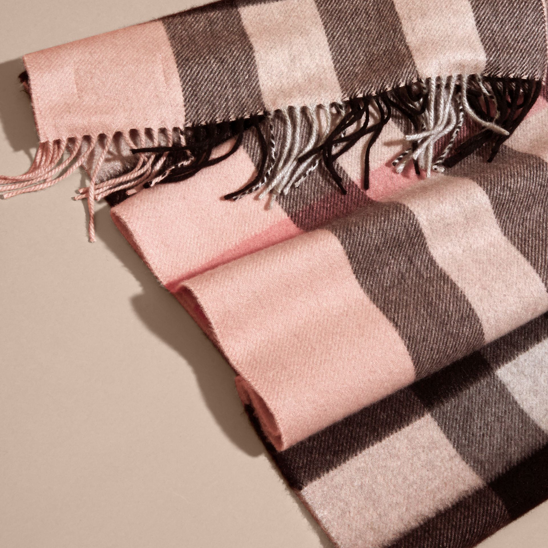 The Large Classic Cashmere Scarf in Check in Ash Rose - gallery image 5