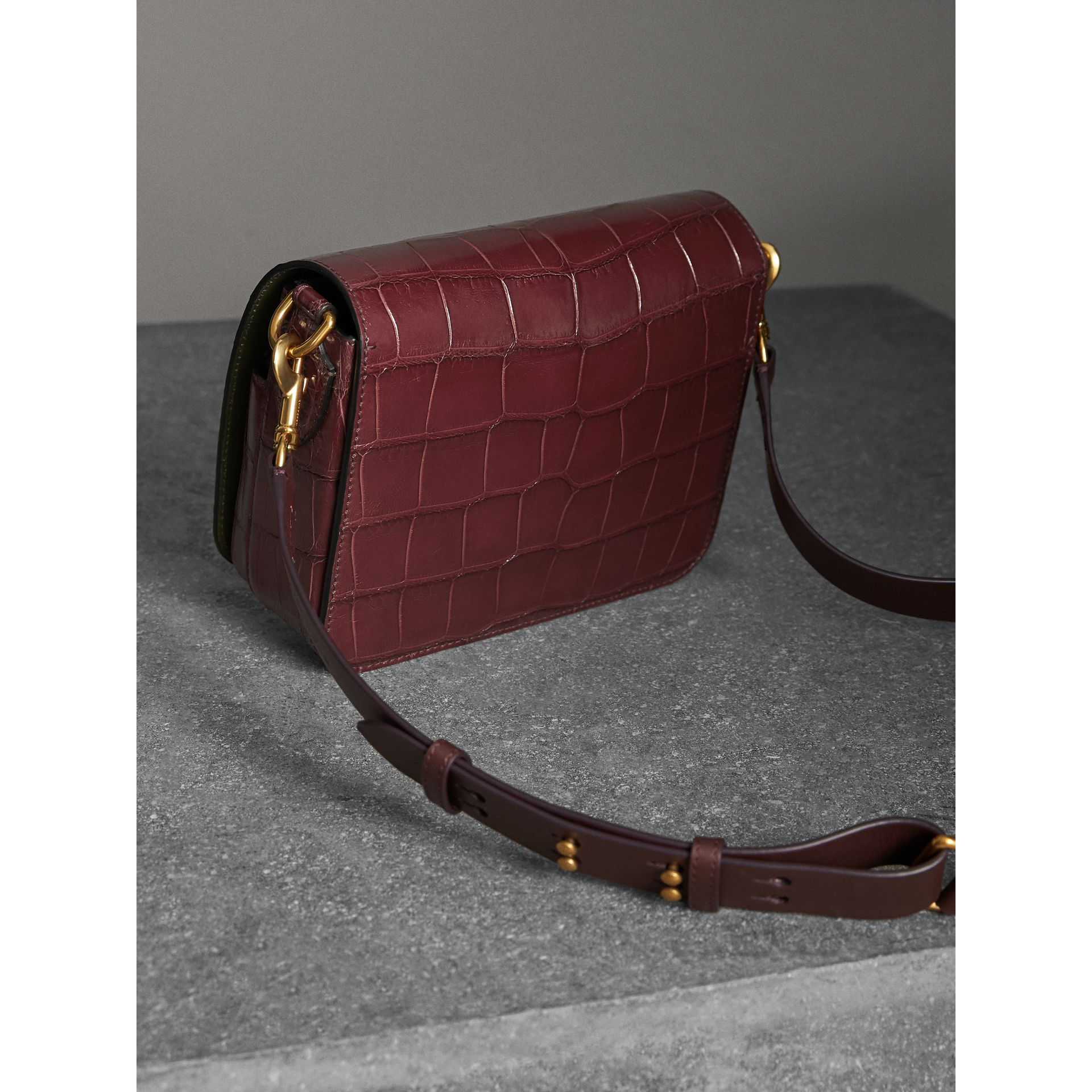 The Square Satchel in Alligator in Dark Plum - Women | Burberry - gallery image 3