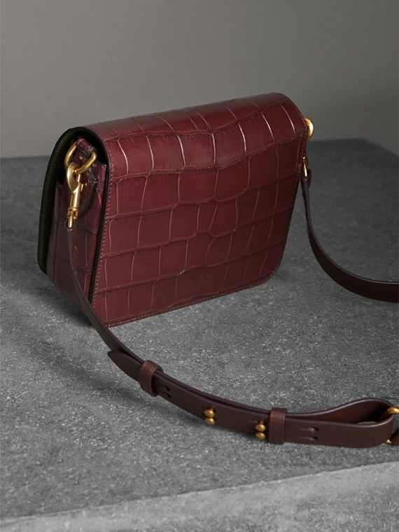 The Square Satchel in Alligator in Dark Plum - Women | Burberry Singapore - cell image 3