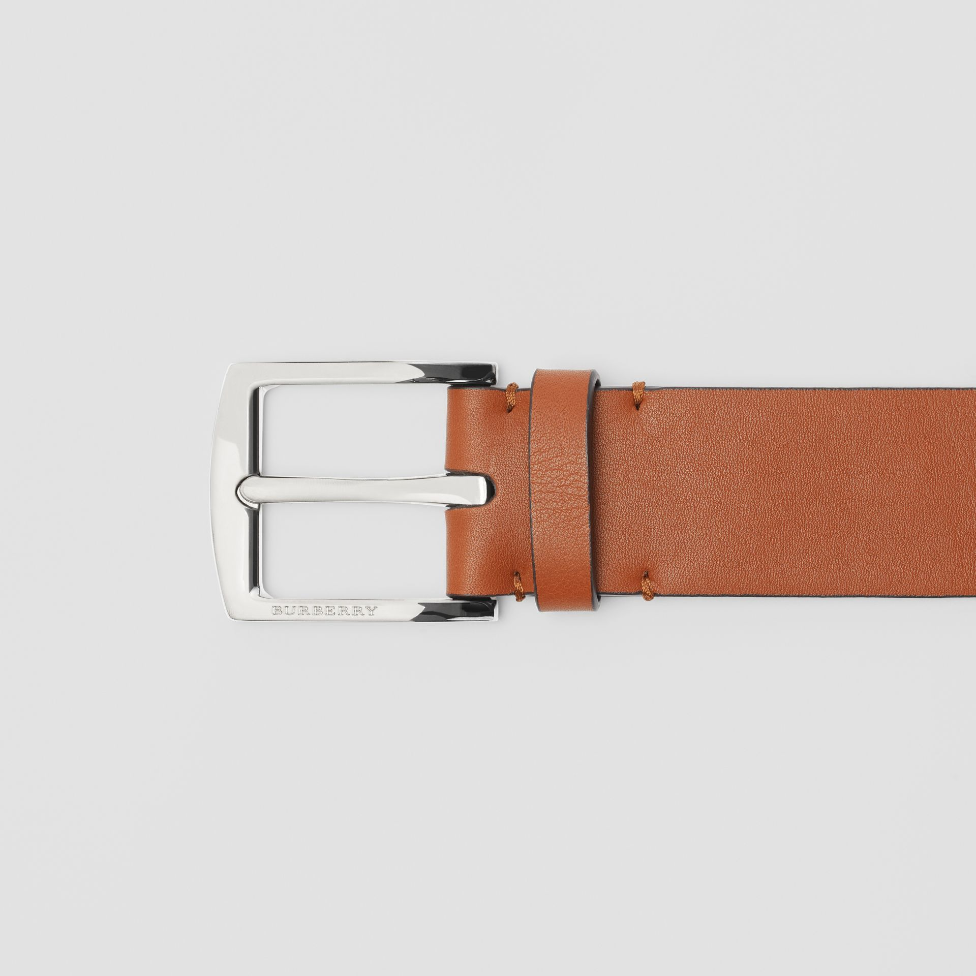 Embossed Crest Leather Belt in Chestnut Brown - Men | Burberry United States - gallery image 1