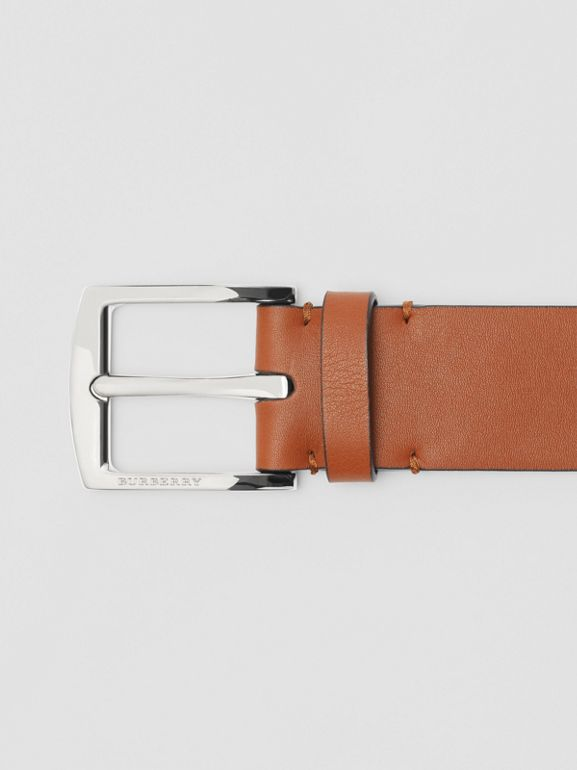 Embossed Crest Leather Belt in Chestnut Brown - Men | Burberry United States - cell image 1
