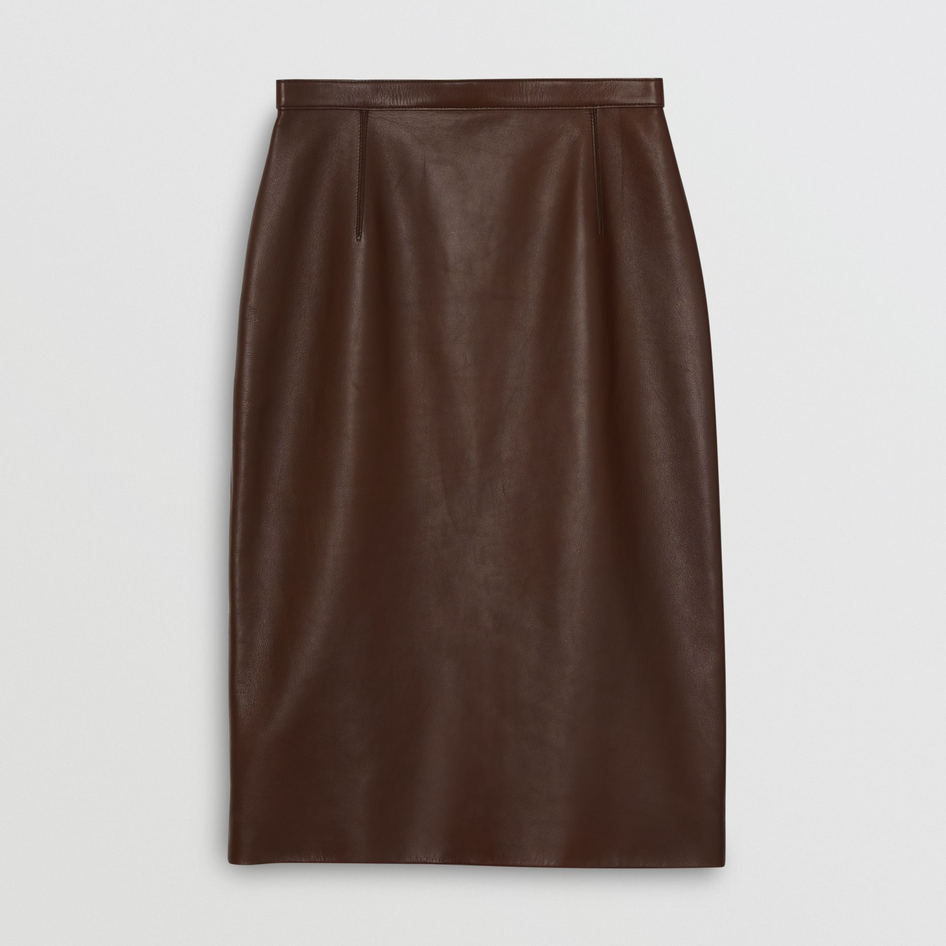 Lambskin Pencil Skirt in Mahogany - Women | Burberry - gallery image 3