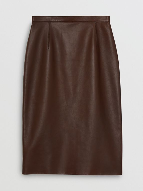 Lambskin Pencil Skirt in Mahogany