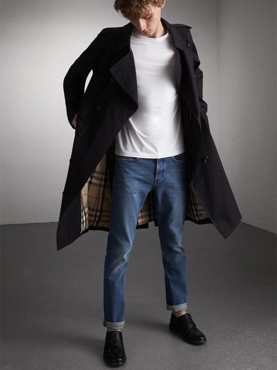 Straight Fit Stretch Japanese Denim Jeans in Mid Indigo
