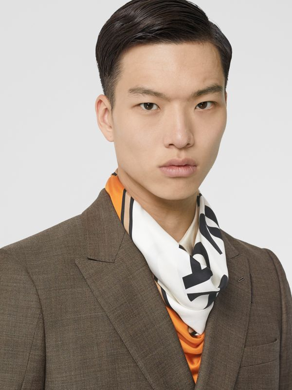 Logo Print Silk Square Scarf in Orange | Burberry - cell image 3