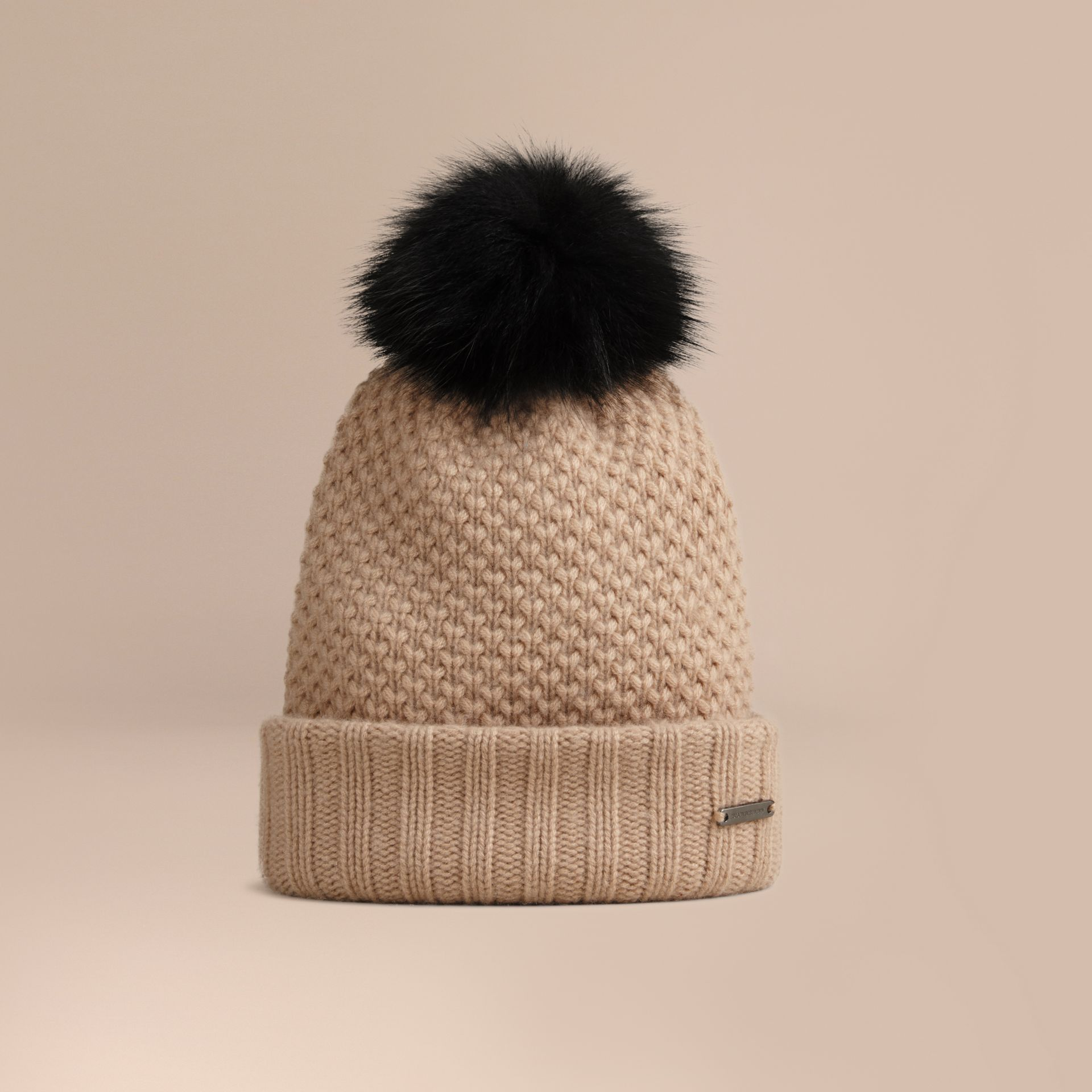 Fur Pom-Pom Wool Cashmere Beanie in Camel - Women | Burberry - gallery image 1