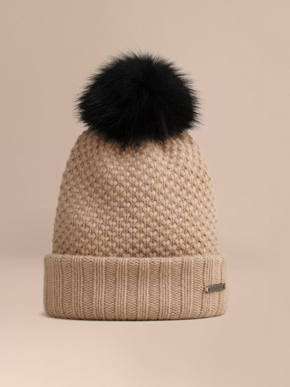 Fur Pom-Pom Wool Cashmere Beanie - Women | Burberry Singapore