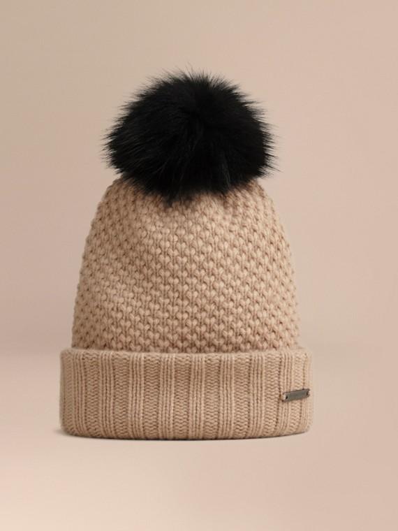 皮草絨球羊毛喀什米爾套頭帽