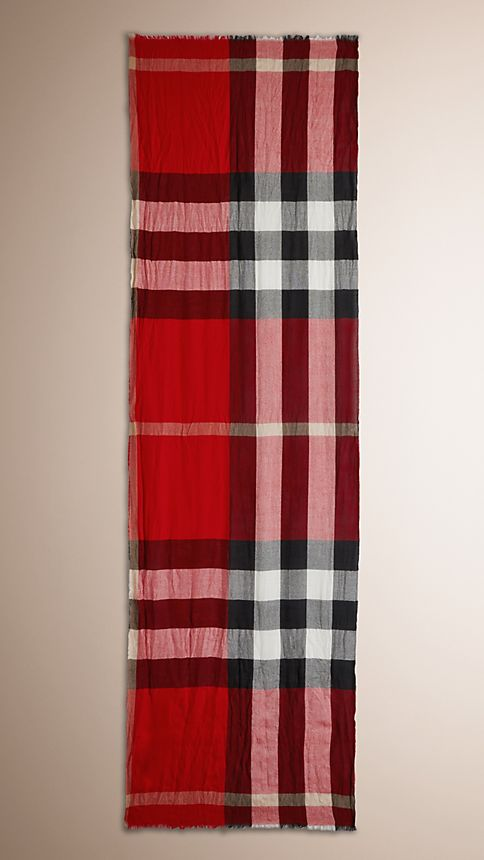 Military red check Check Cashmere Crinkled Scarf - Image 3