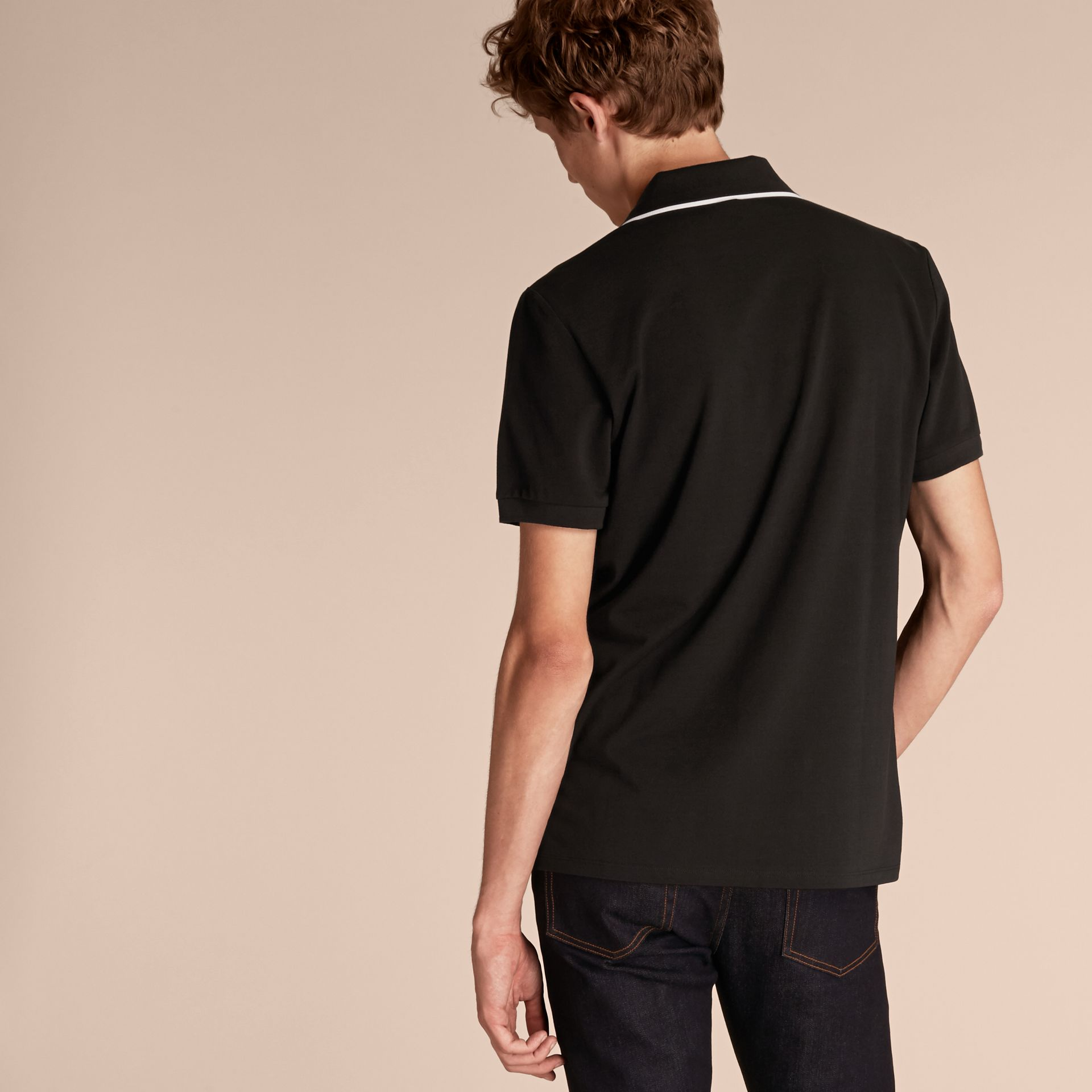 Tipped Collar Cotton Piqué Polo Shirt in Black - Men | Burberry Canada - gallery image 3