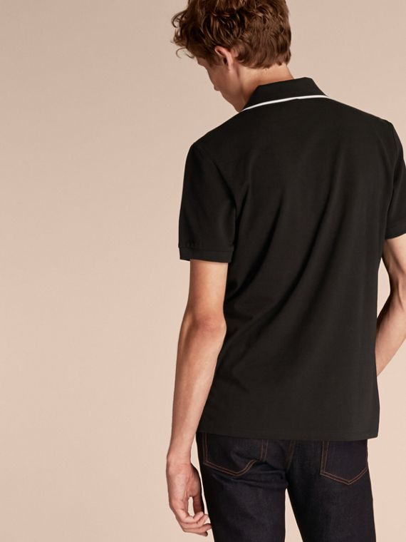 Tipped Collar Cotton Piqué Polo Shirt in Black - Men | Burberry - cell image 2