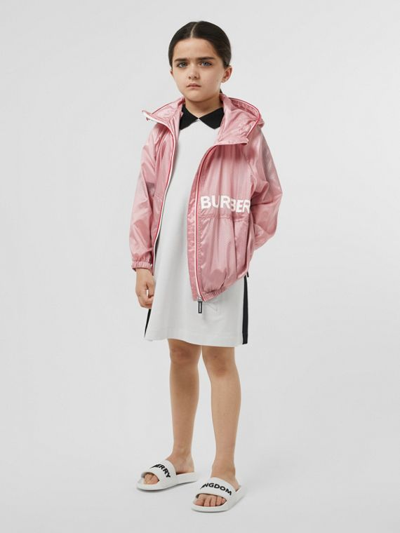 Logo Print Perforated Hooded Jacket in Pearl Rose