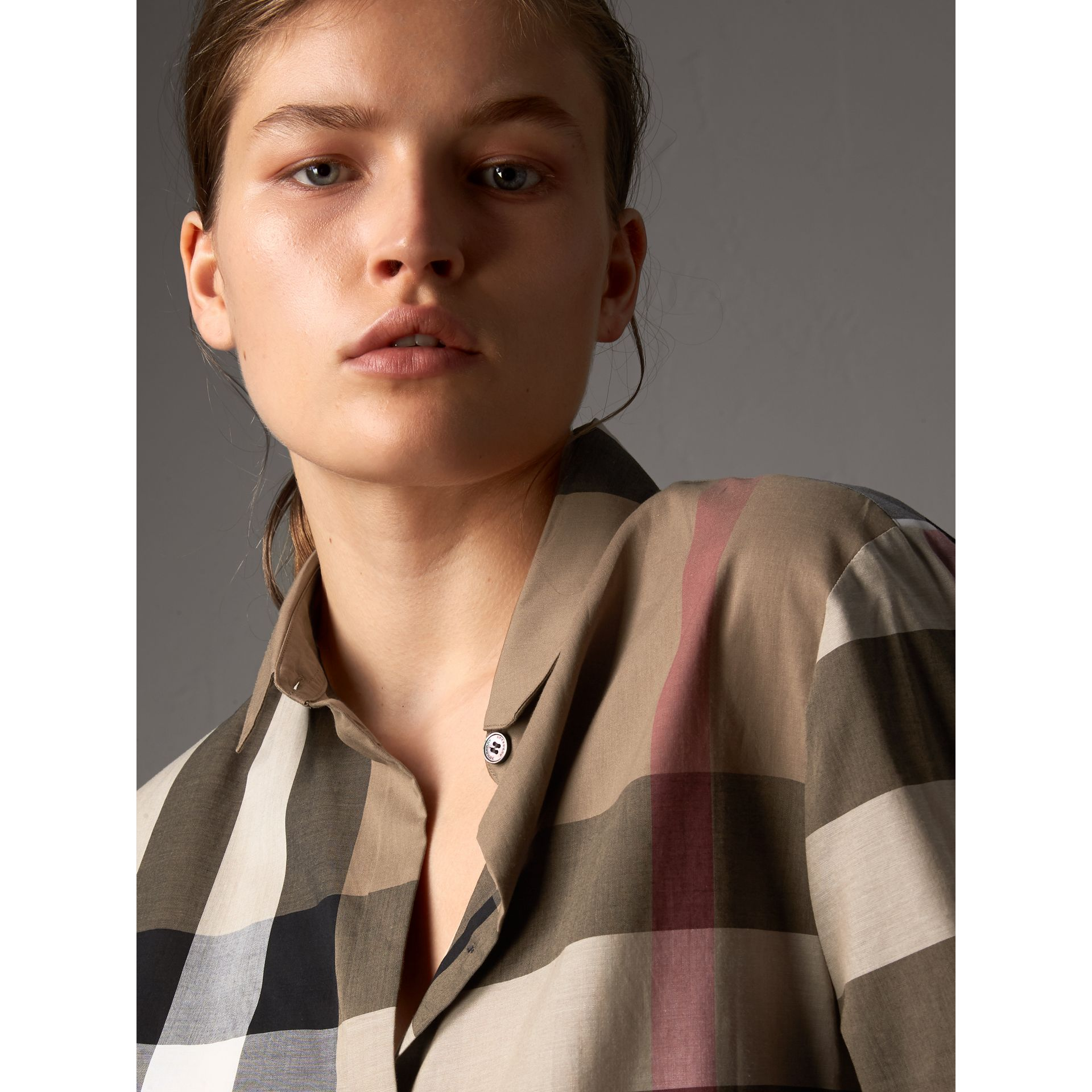 Check Cotton Shirt in Taupe Brown - Women | Burberry - gallery image 2