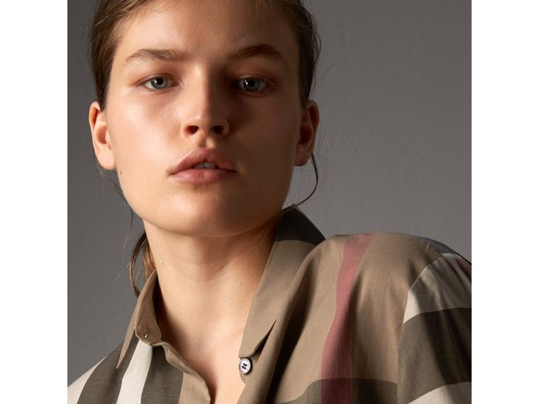 Check Cotton Shirt in Taupe Brown - Women | Burberry - cell image 1