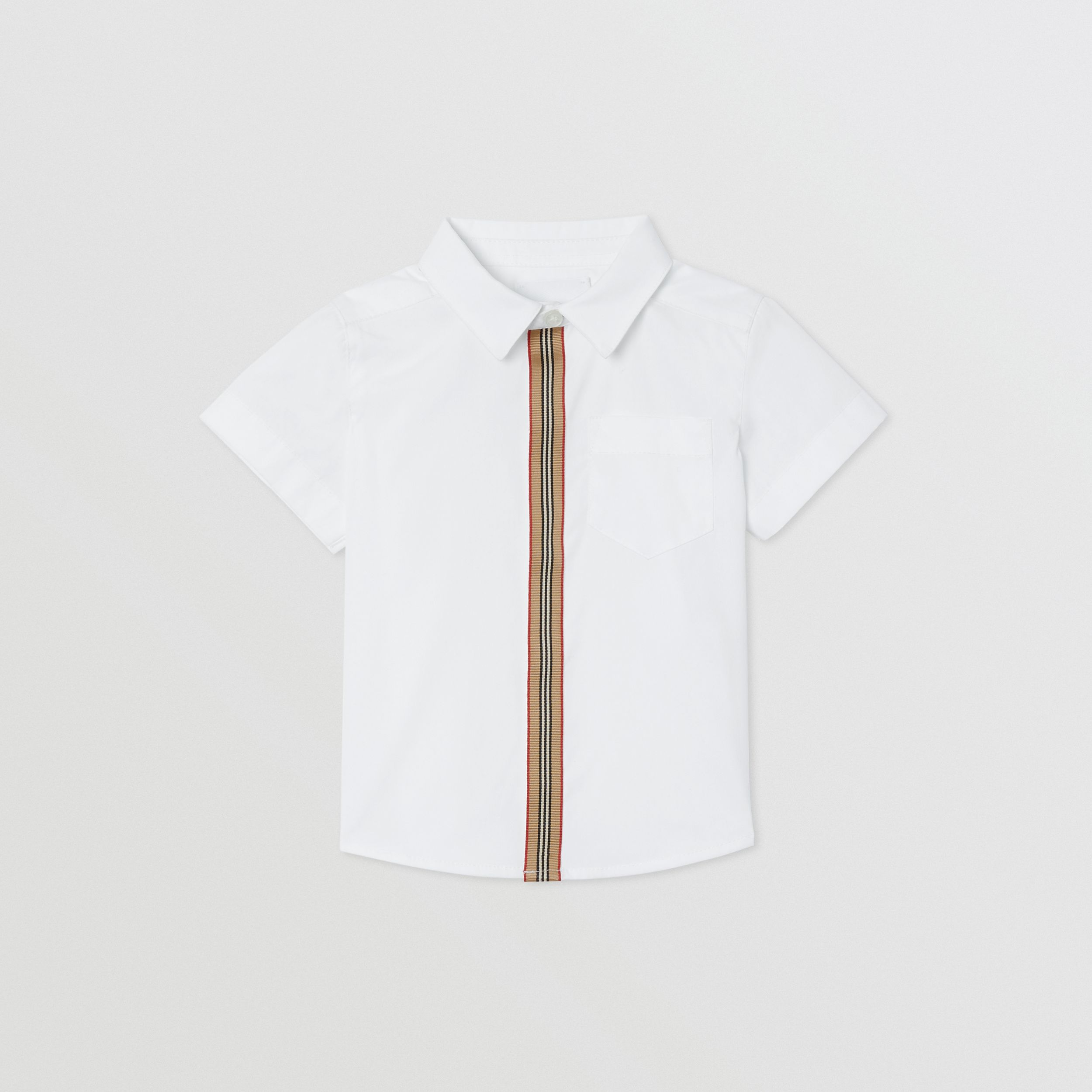 Short-sleeve Icon Stripe Trim Stretch Cotton Shirt in White - Children | Burberry - 1