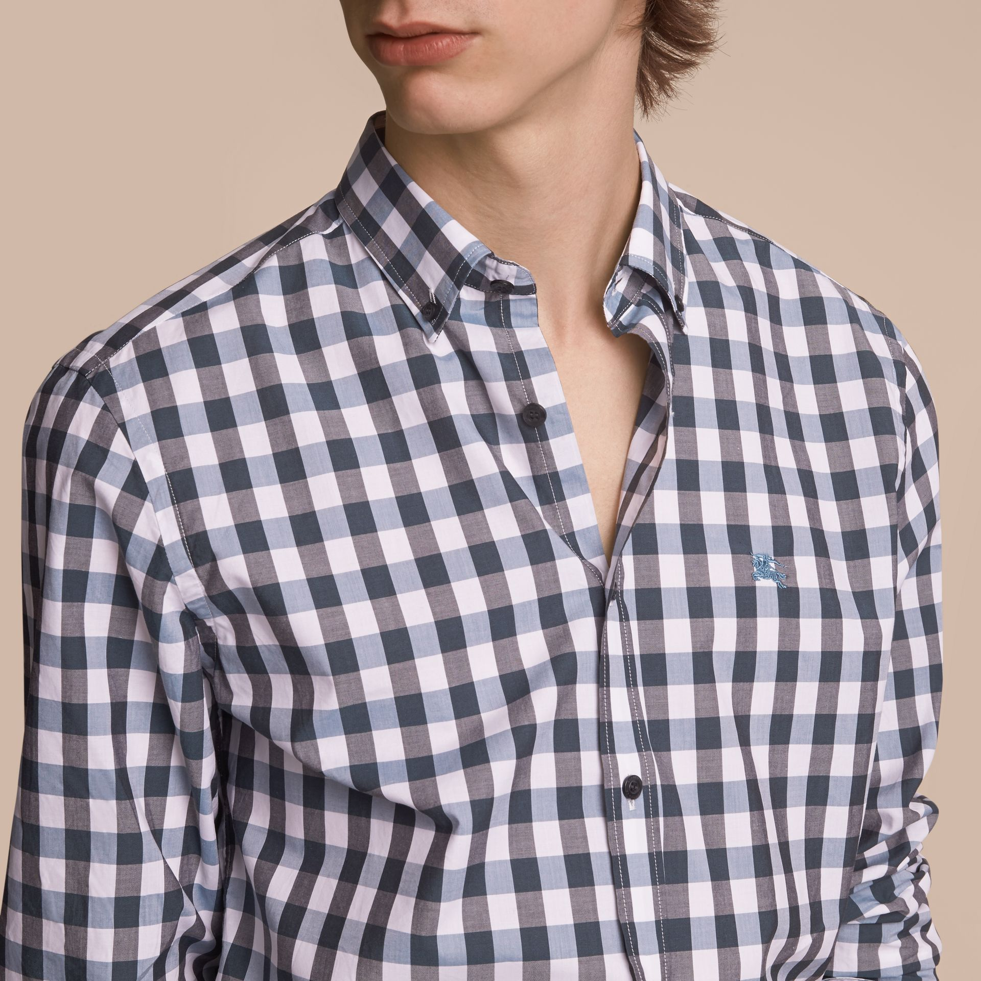 Button-down Collar Gingham Cotton Shirt in Mineral Blue - gallery image 5