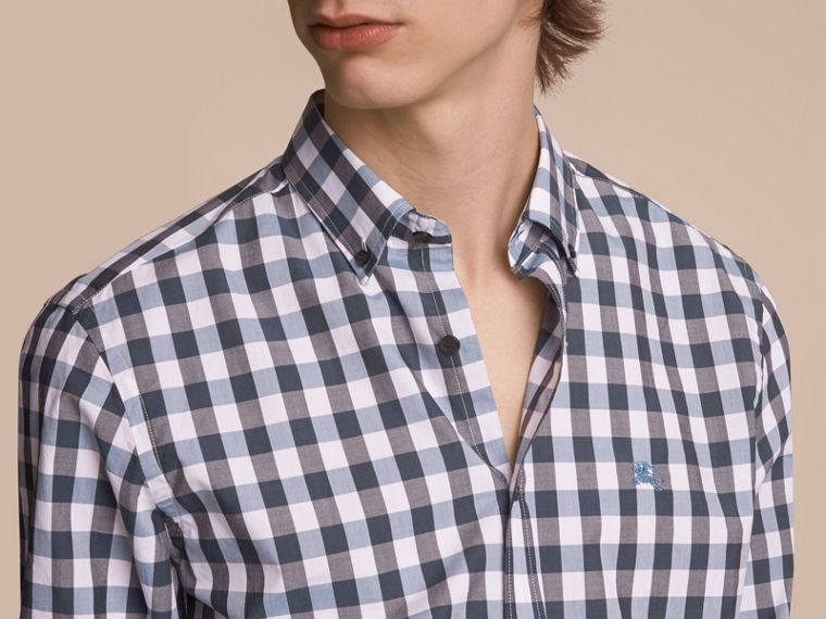 Button-down Collar Gingham Cotton Shirt in Mineral Blue - cell image 4