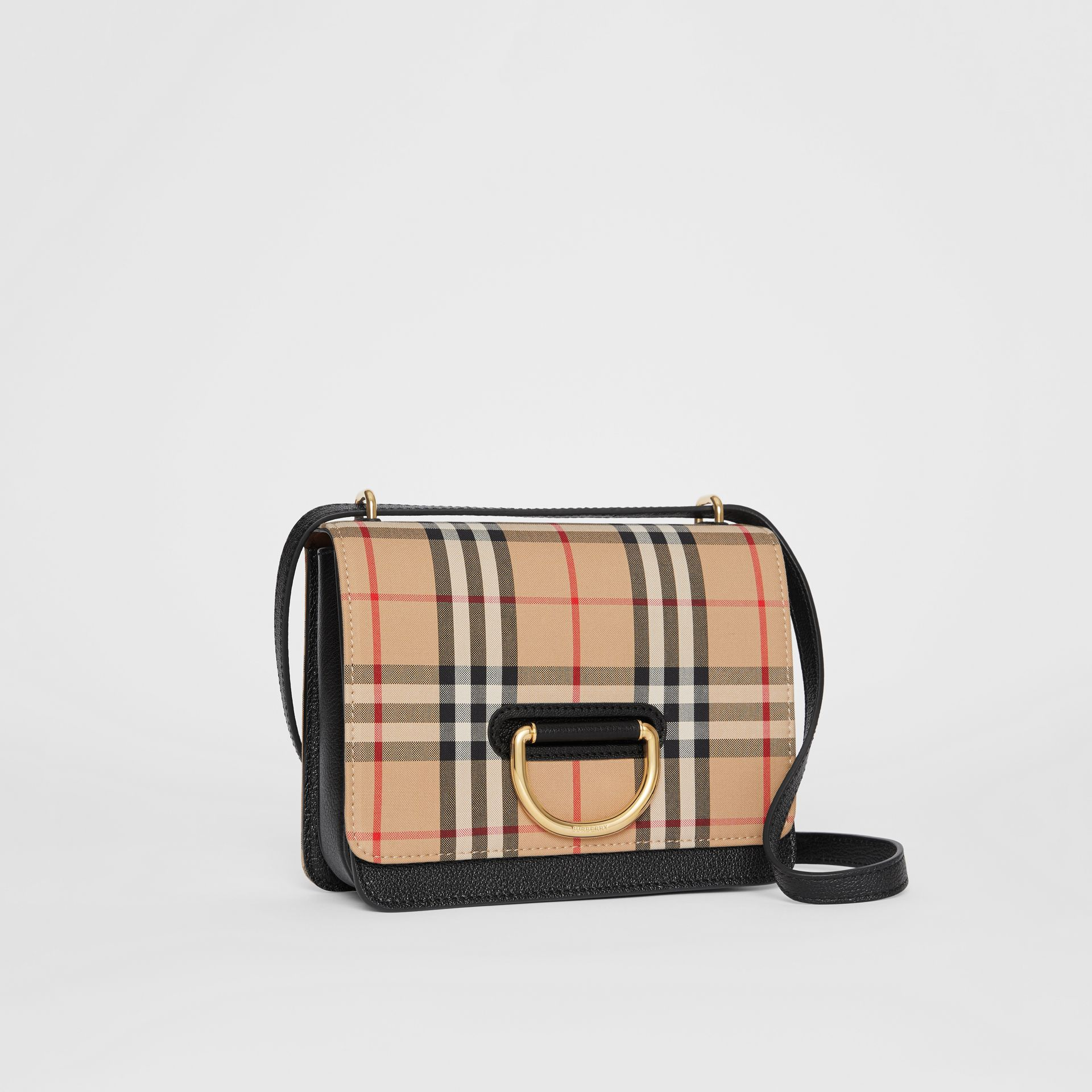 The Small Vintage Check and Leather D-ring Bag in Black - Women | Burberry United Kingdom - gallery image 9