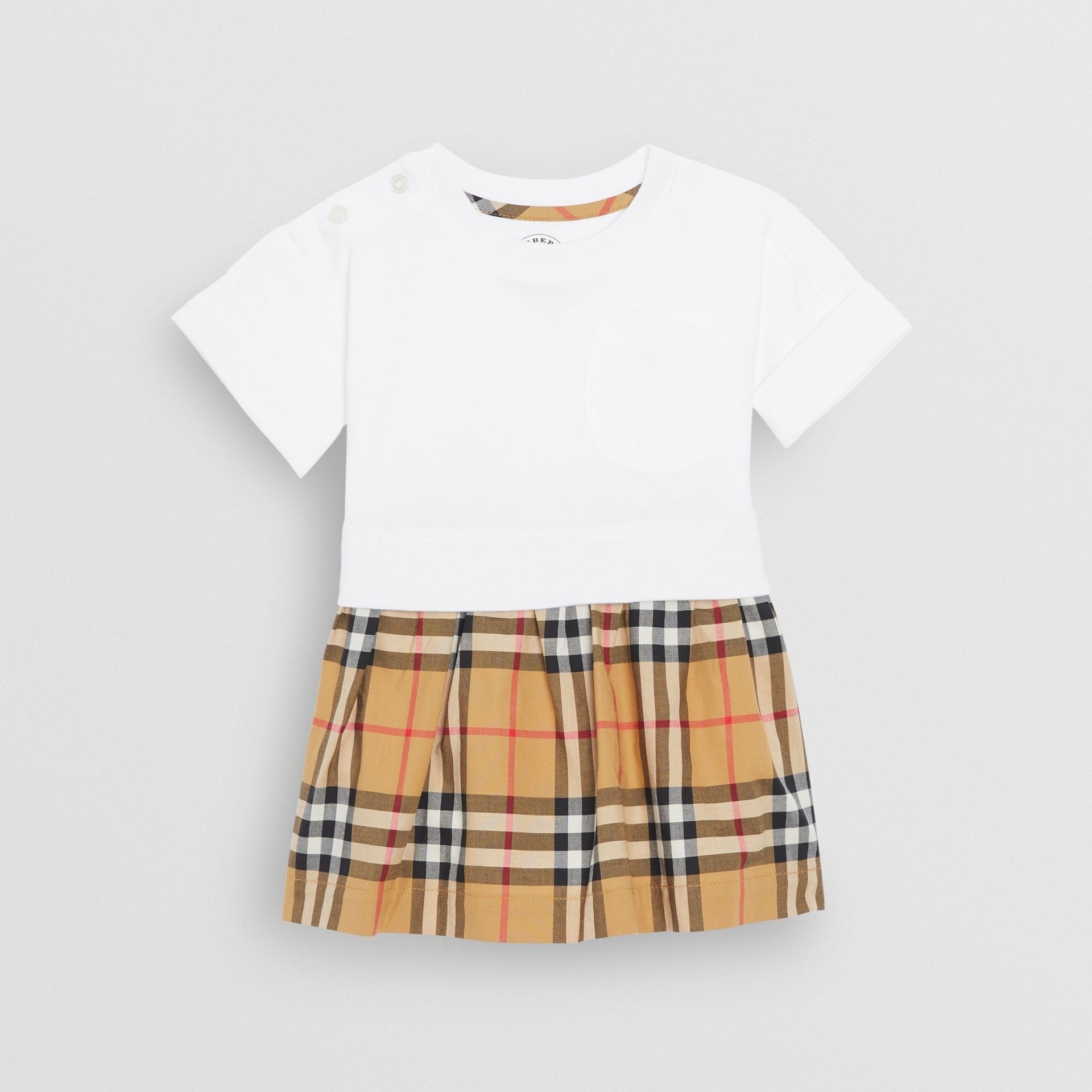Vintage Check Cotton Dress with Bloomers in White - Children | Burberry - gallery image 0