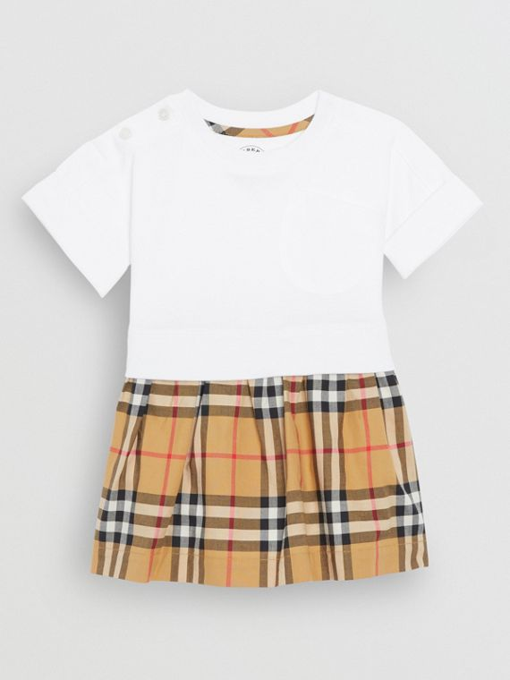 Vintage Check Cotton Dress with Bloomers in White