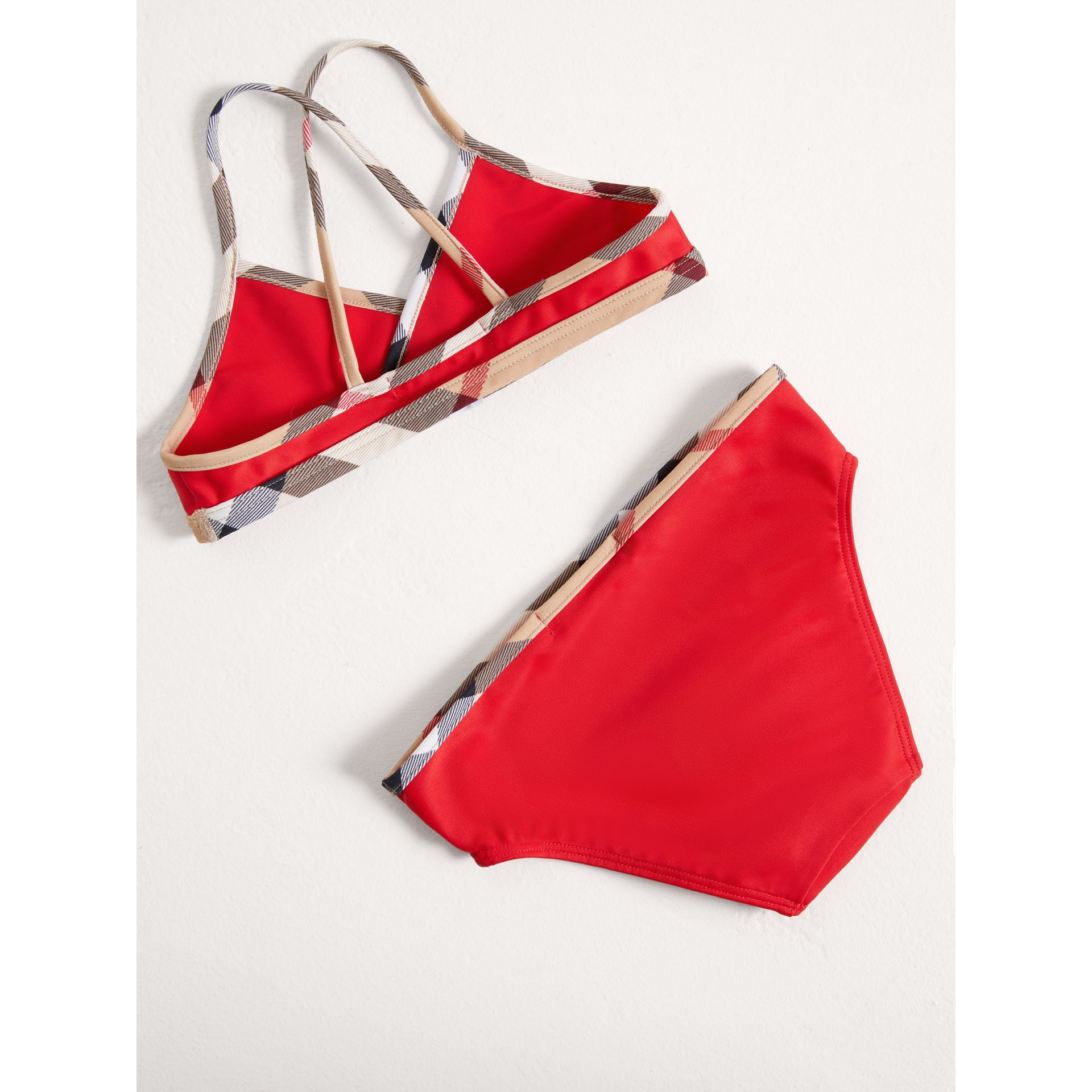 Check Trim Bikini in Poppy Red - Girl | Burberry Australia - gallery image 2