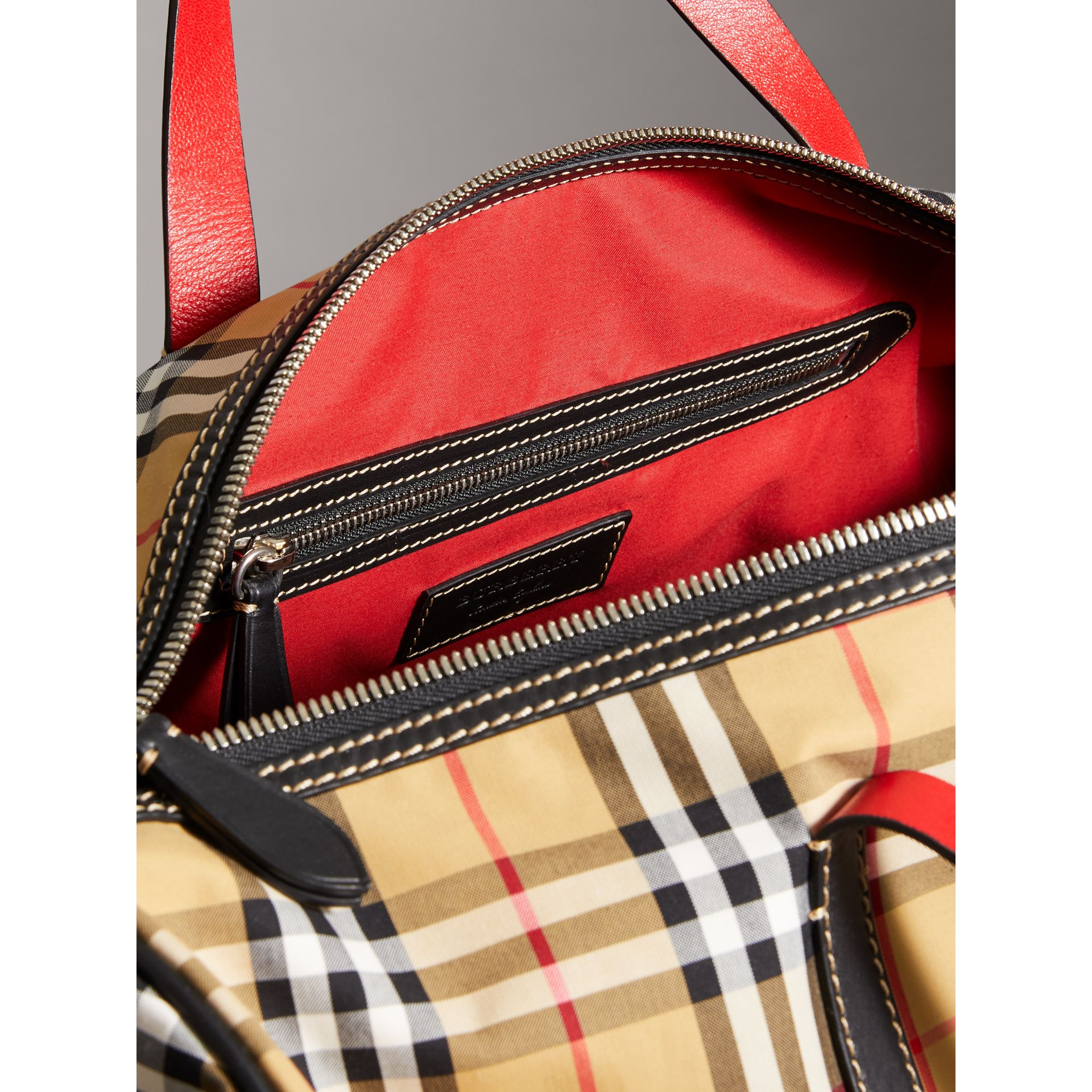 Large Vintage Check and Leather Barrel Bag in Military Red - Men | Burberry Australia - gallery image 5