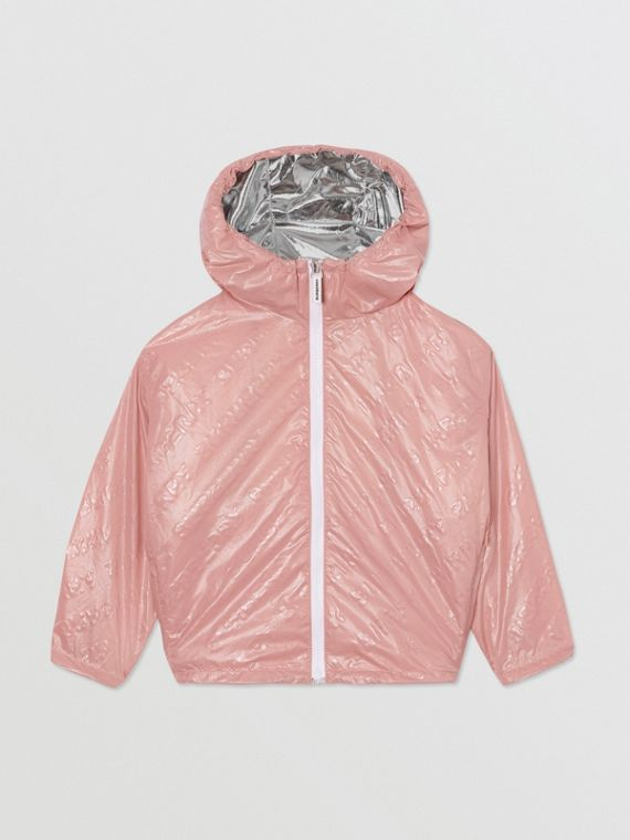 Logo Print Lightweight Hooded Jacket in Dusty Pink