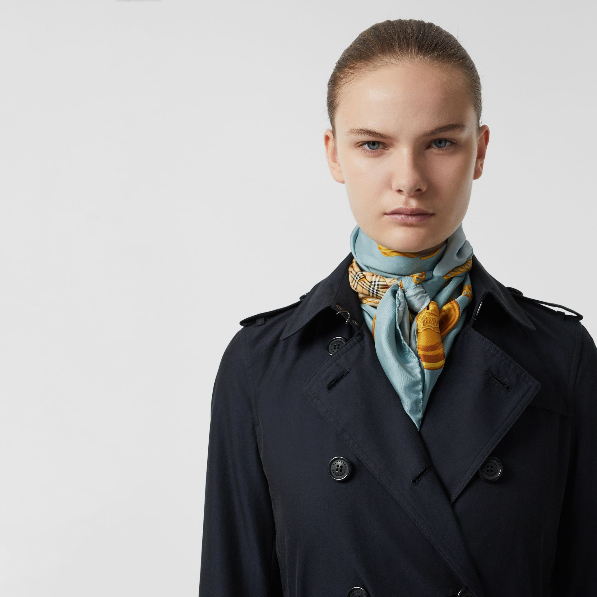 Kensington Fit Cotton Gabardine Trench Coat in Blue Carbon - Women | Burberry - gallery image 4