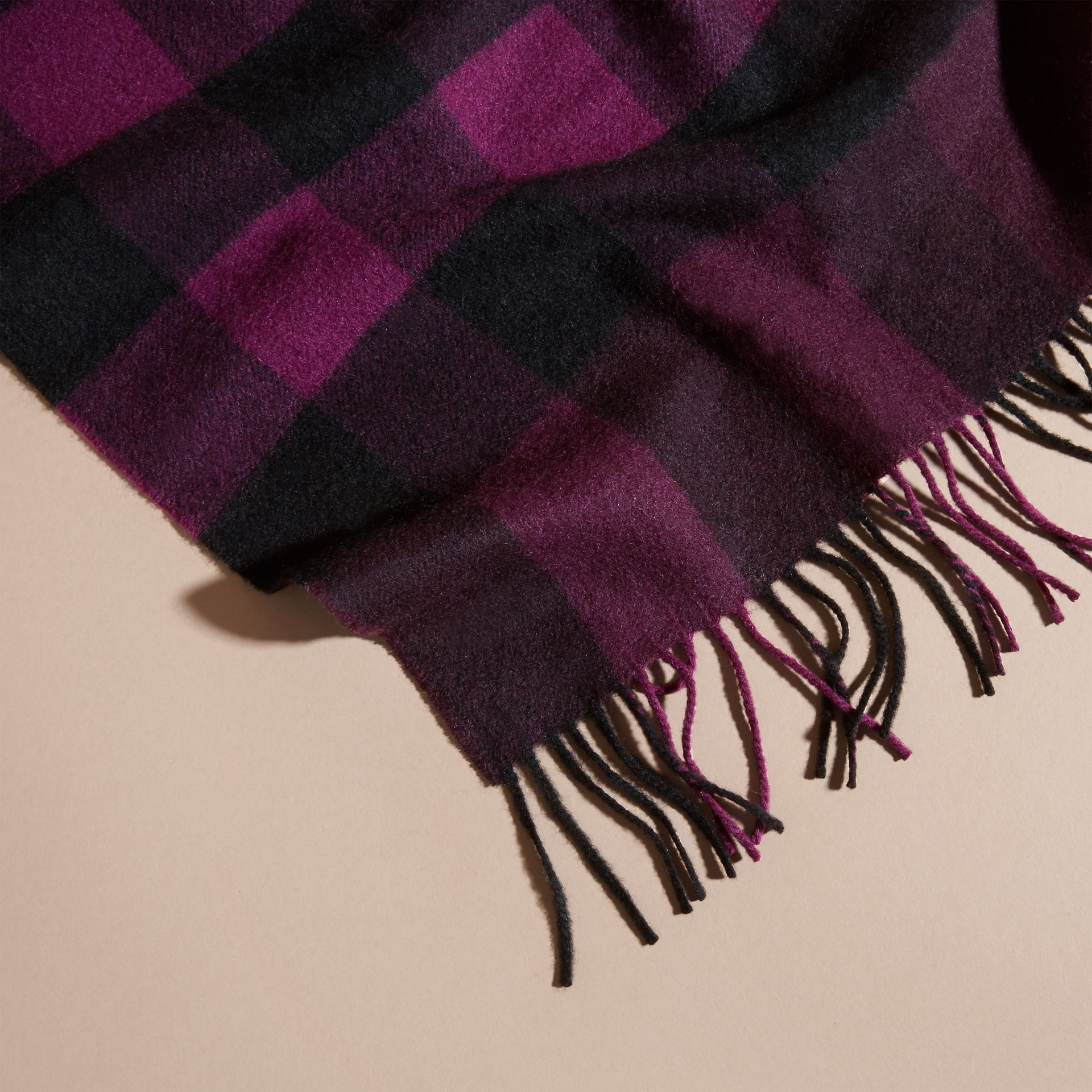 Aubergine The Large Classic Cashmere Scarf in Check Aubergine - gallery image 5