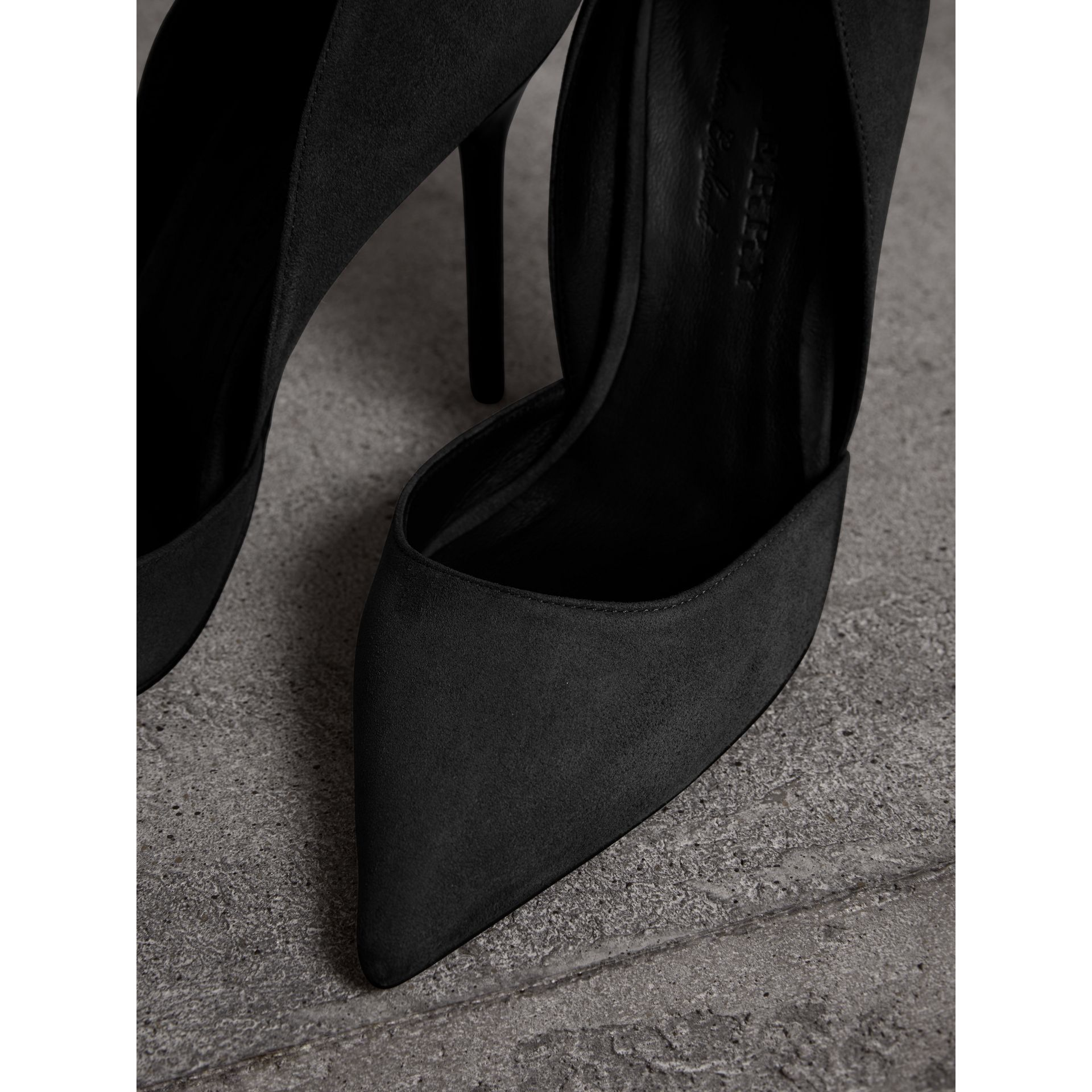 Cutaway Suede Pumps in Black - Women | Burberry United States - gallery image 1