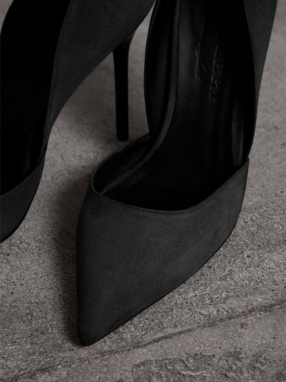 Cutaway Suede Pumps in Black - Women | Burberry - cell image 1