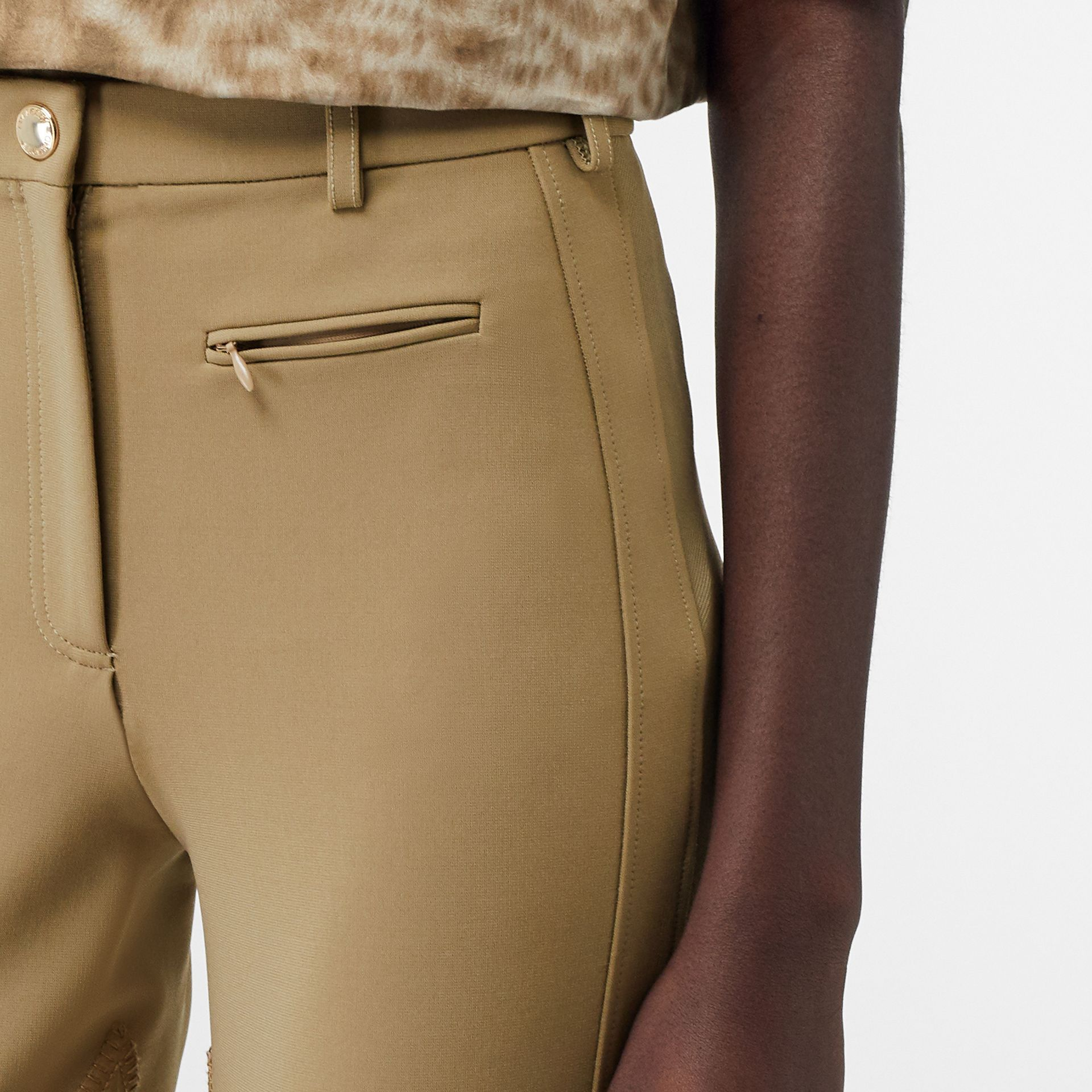Lambskin Panel Stretch Crepe Jersey Trousers in Honey - Women | Burberry United States - gallery image 1