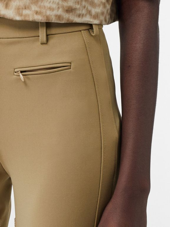 Lambskin Panel Stretch Crepe Jersey Trousers in Honey - Women | Burberry United Kingdom - cell image 1