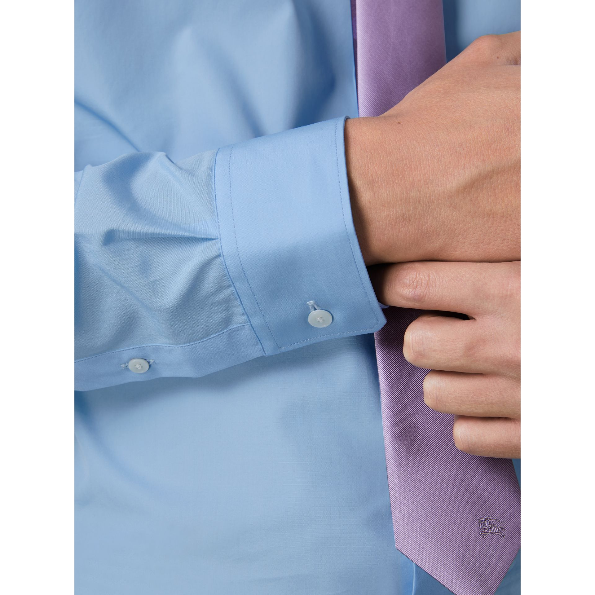 Slim Fit Cotton Poplin Shirt in City Blue - Men | Burberry - gallery image 2