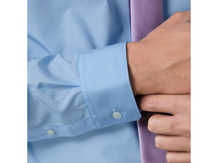 Slim Fit Cotton Poplin Shirt in City Blue - Men | Burberry - cell image 1
