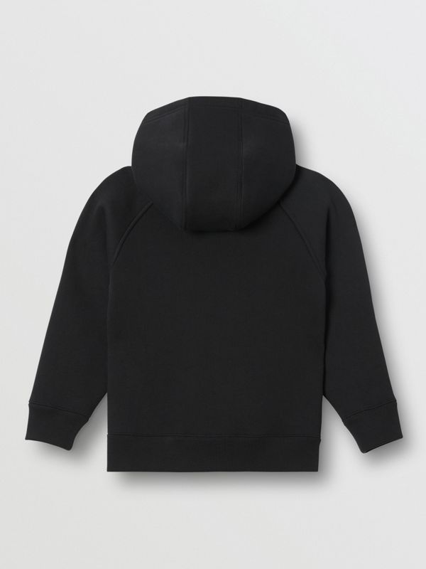 Logo Detail Jersey Hooded Top in Black | Burberry - cell image 3